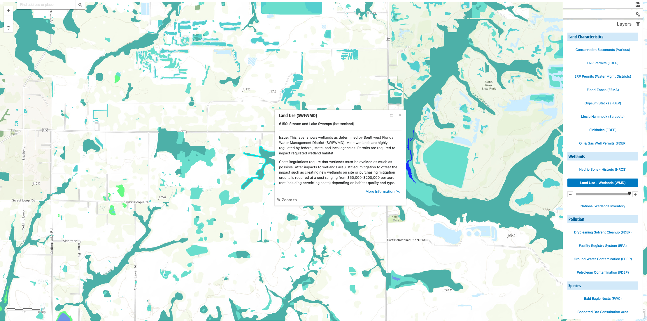 Be Smart Land Audit - Wetlands - Water Management District - Map